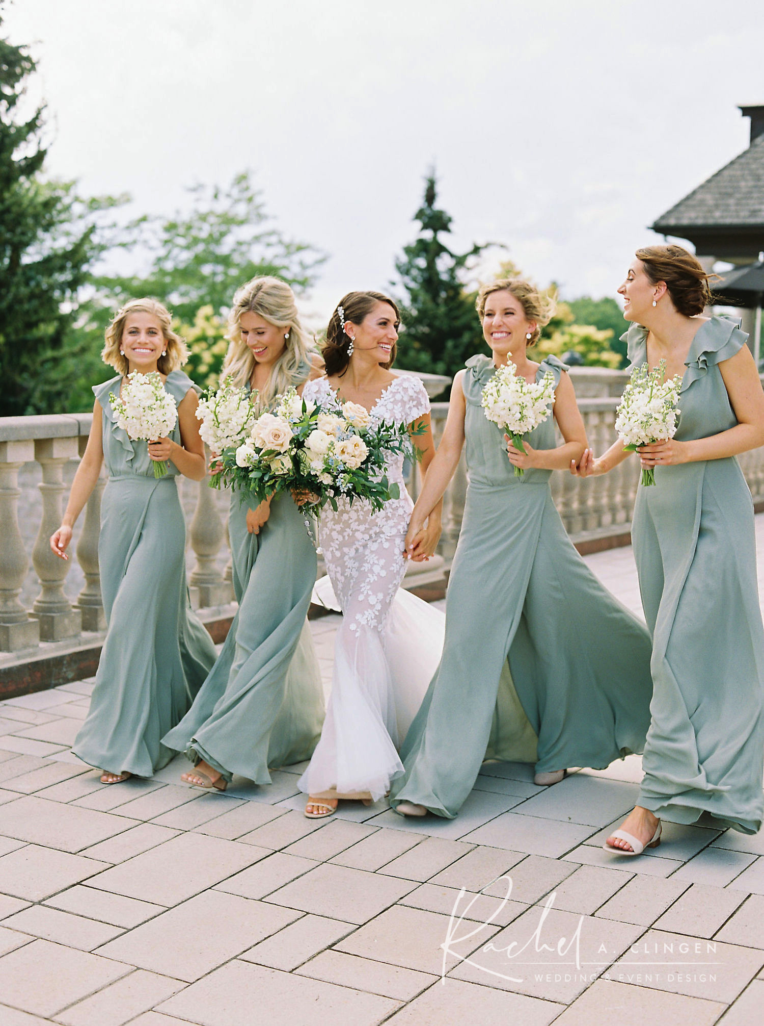 dusty green bridesmaids flowers