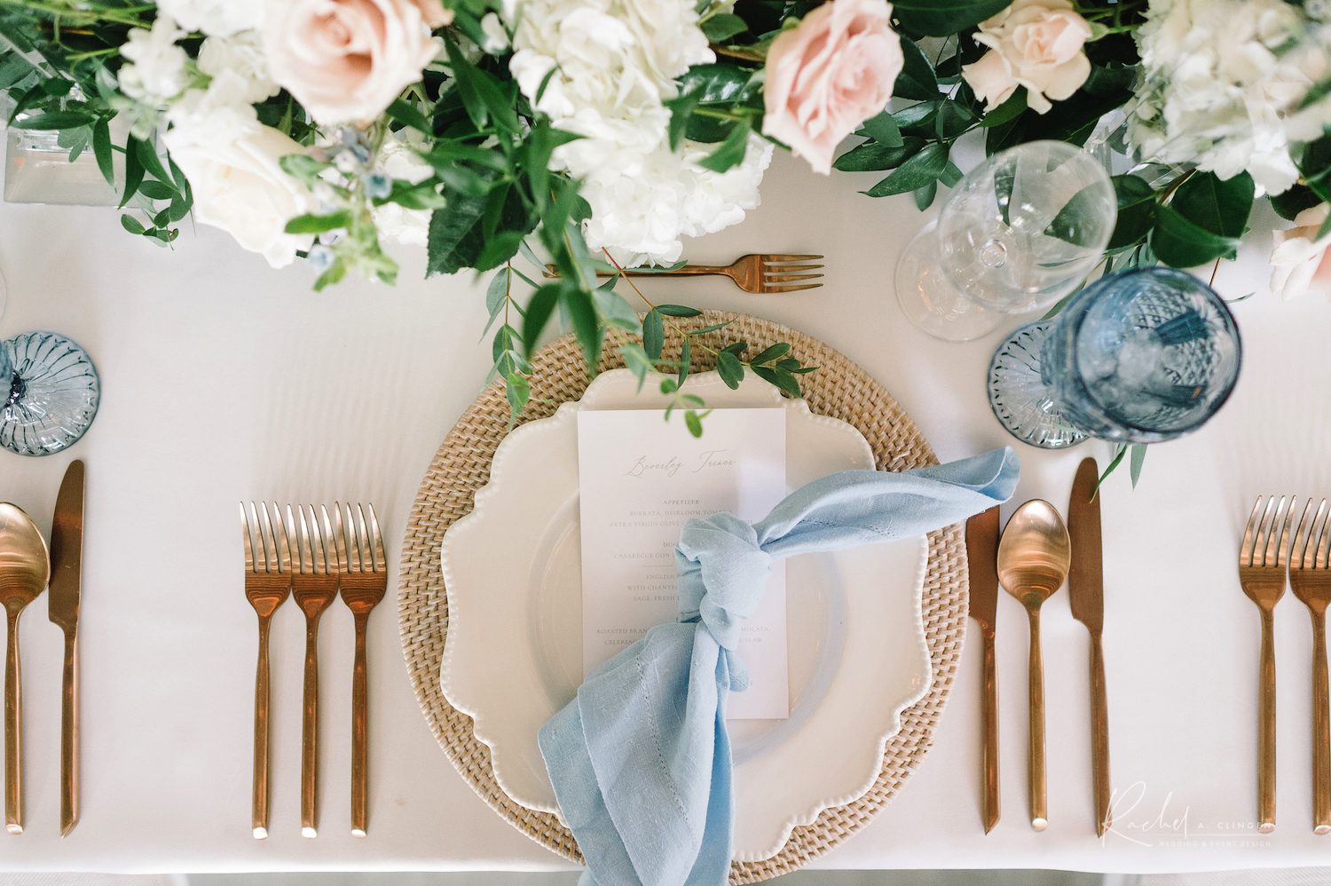 placesetting wedding dusty blue