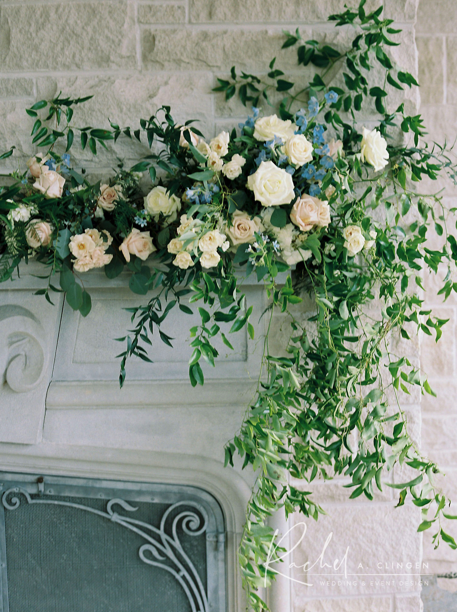 wedding flowers fireplace