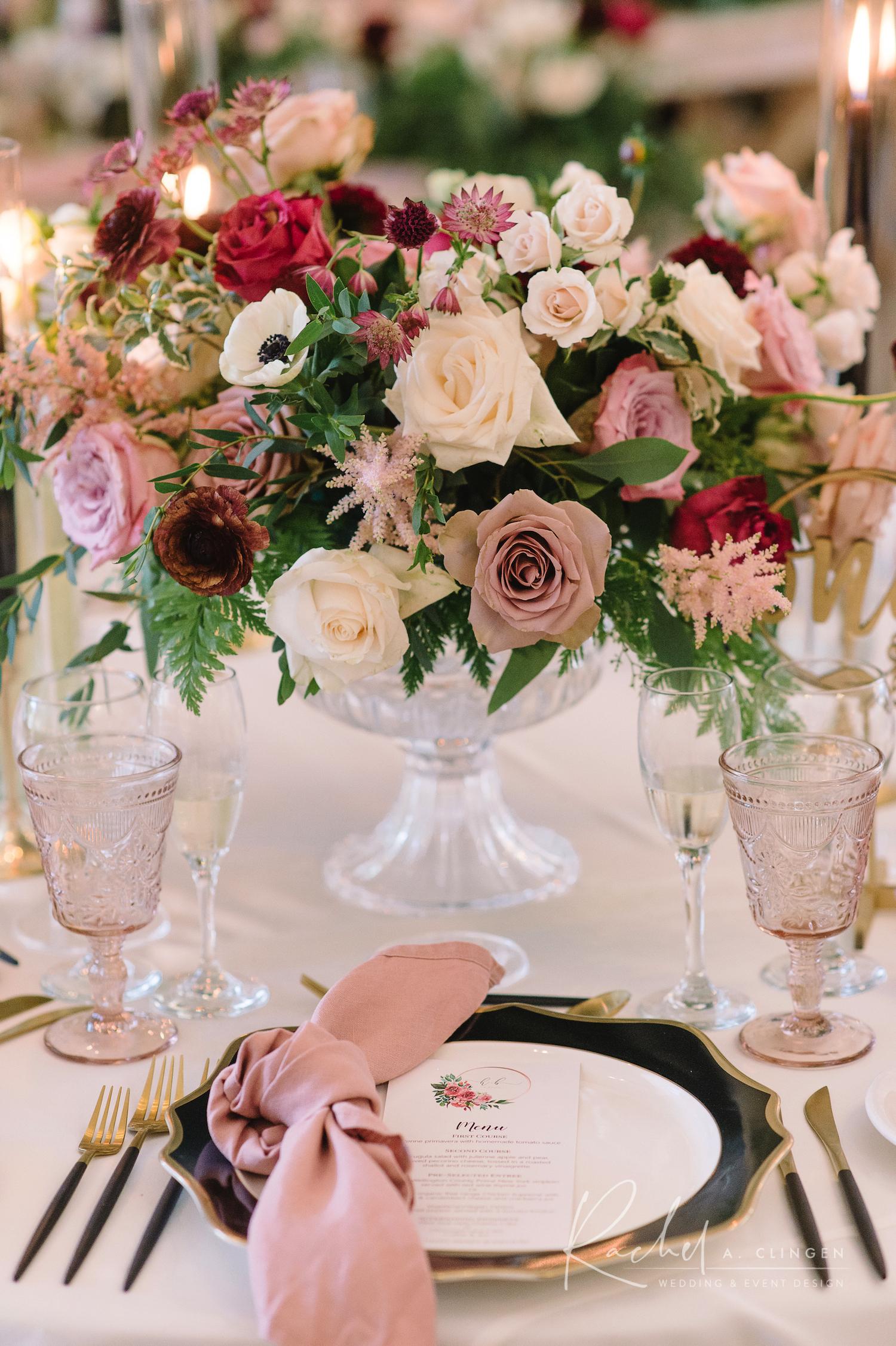 dusty rose mauve wedding decor