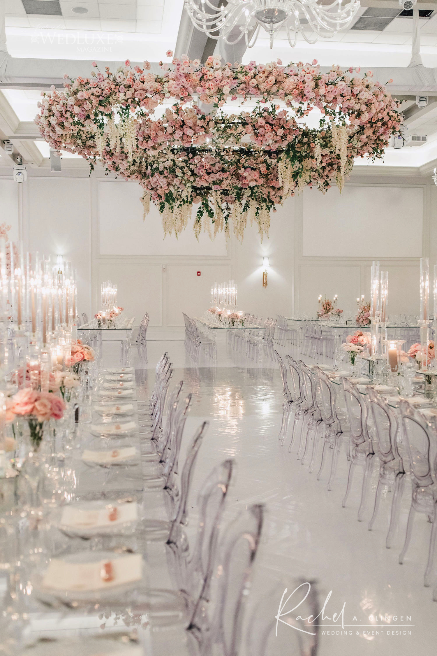 modern pink flower chandleier