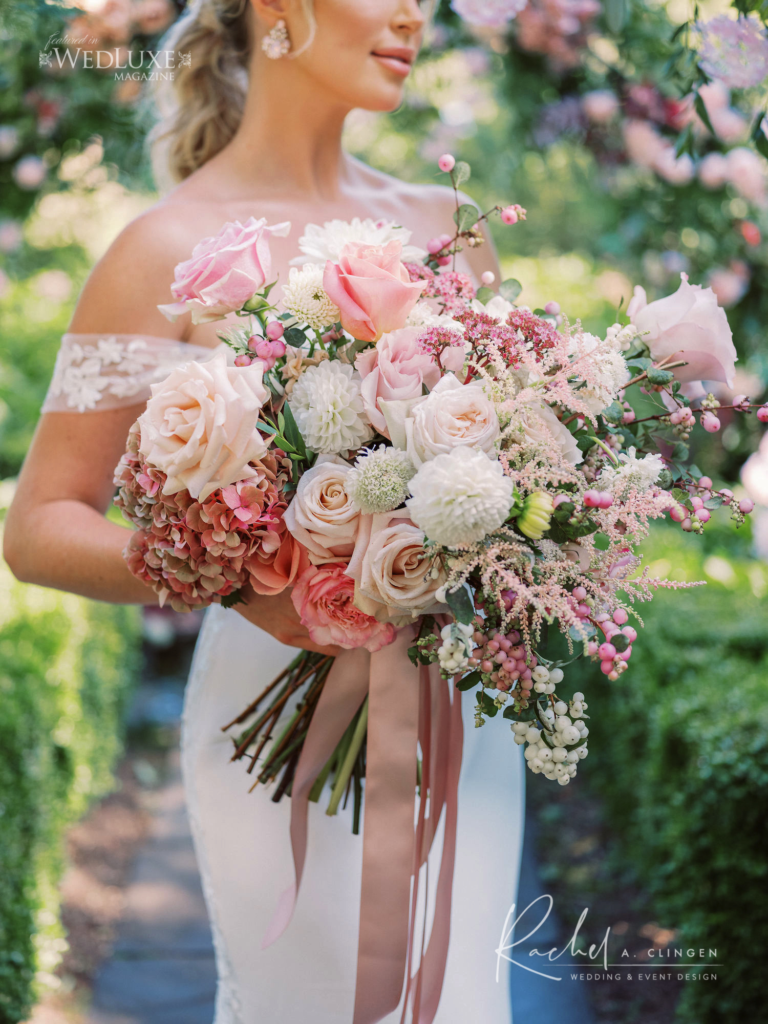 pink ivory blush wedding bouquet