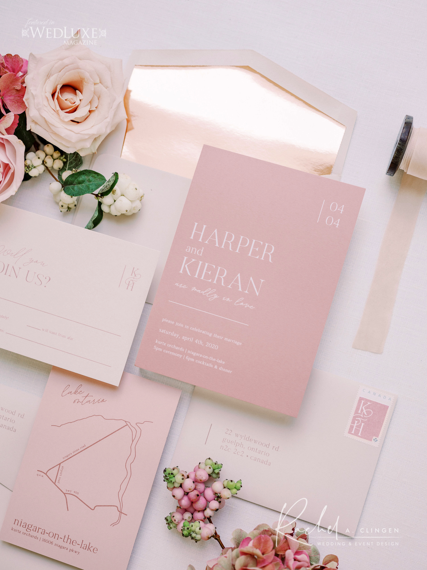 pink luxury stationery