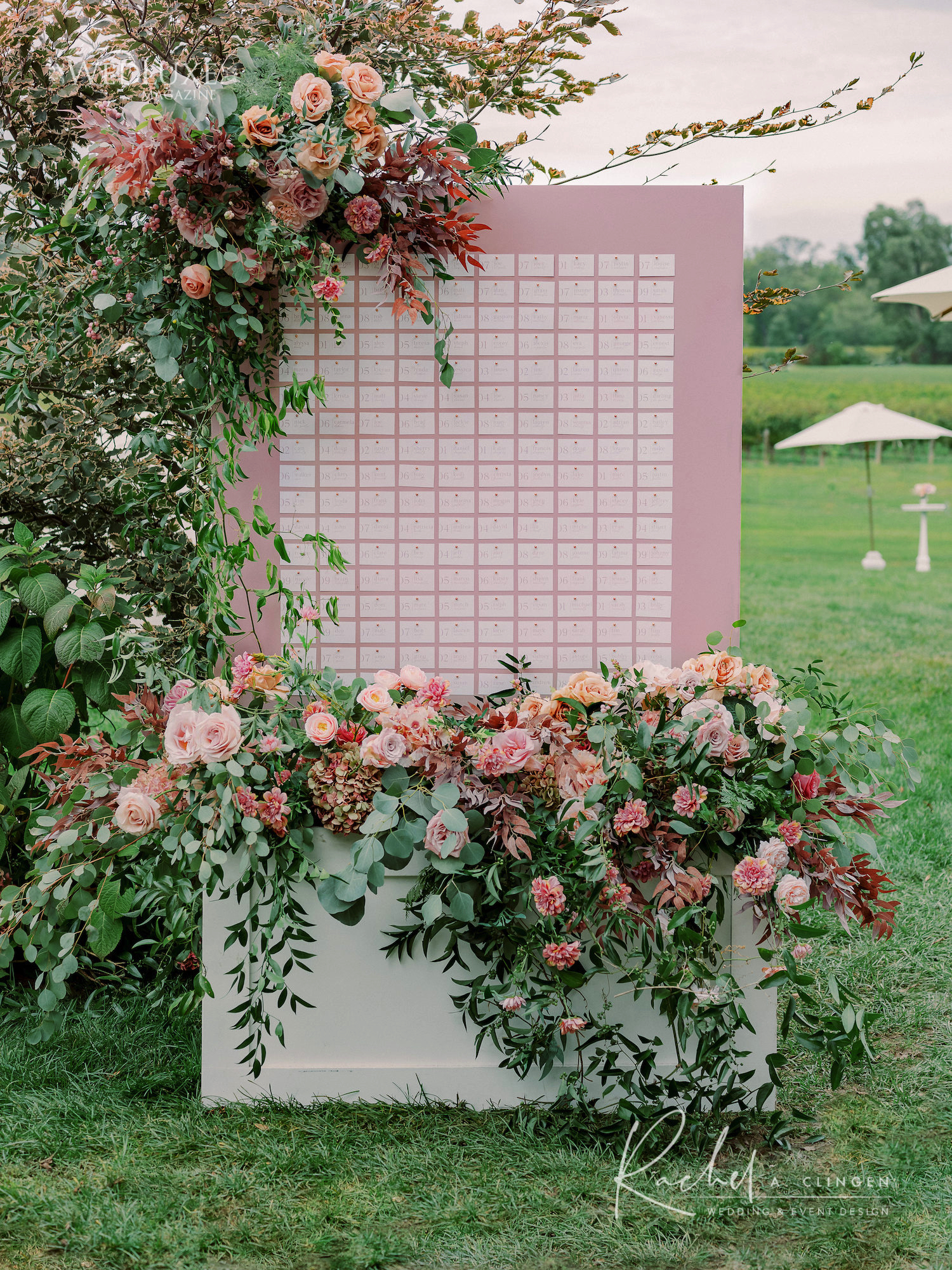 pink wedding seating chart flowers