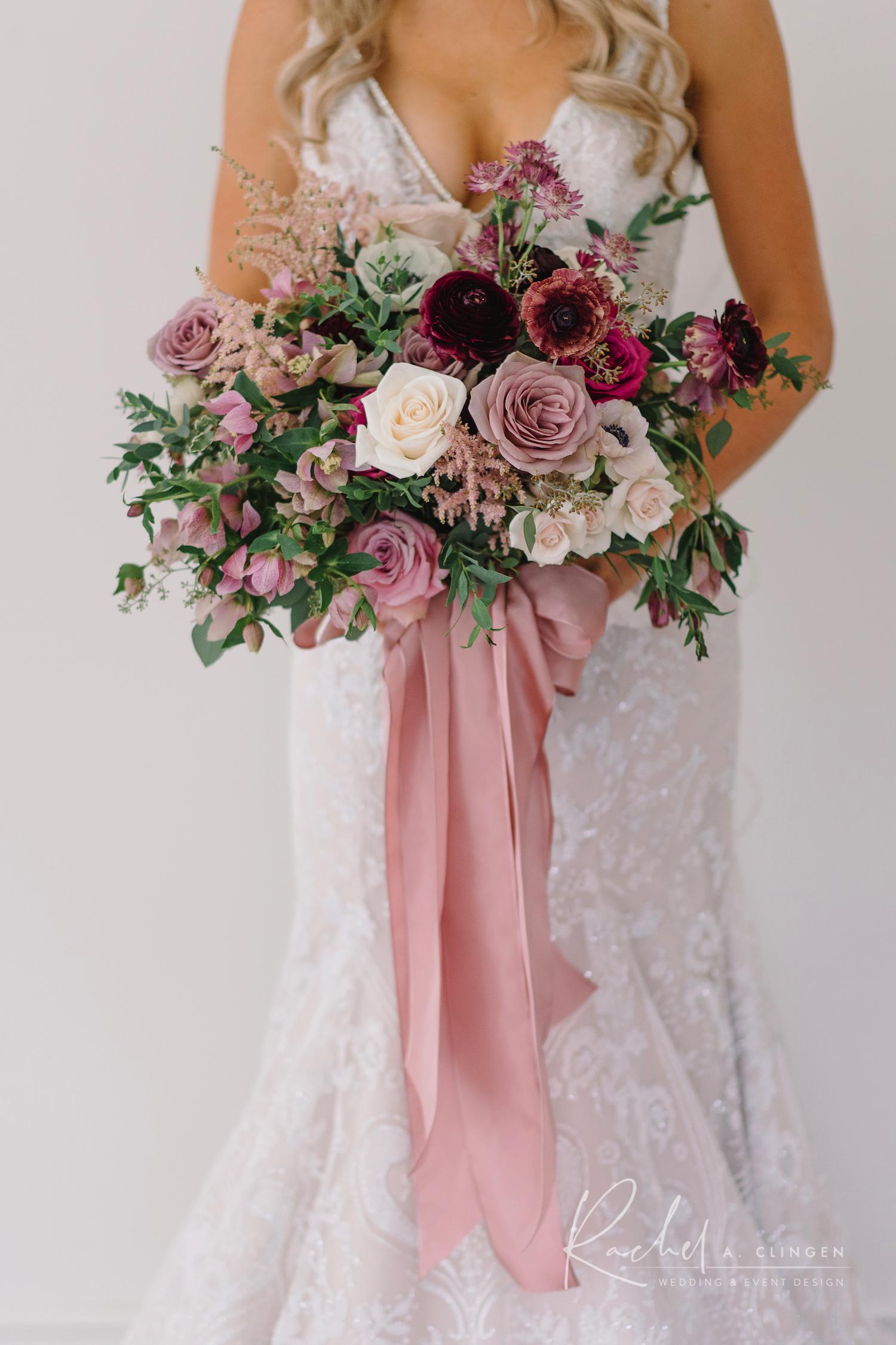rose mauve blush wedding flowers