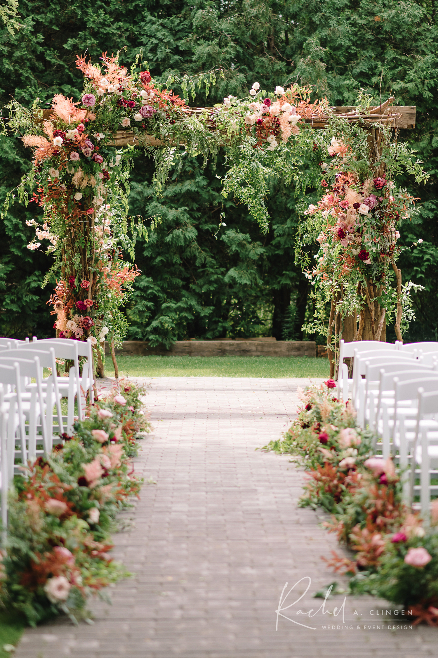 roseville estate wedding ceremony arch