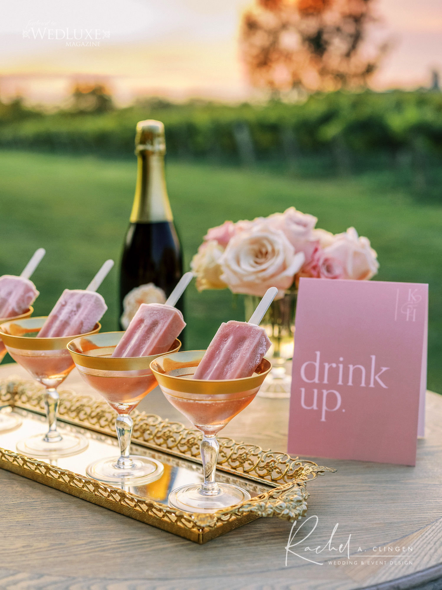 signature cocktail wedding pink
