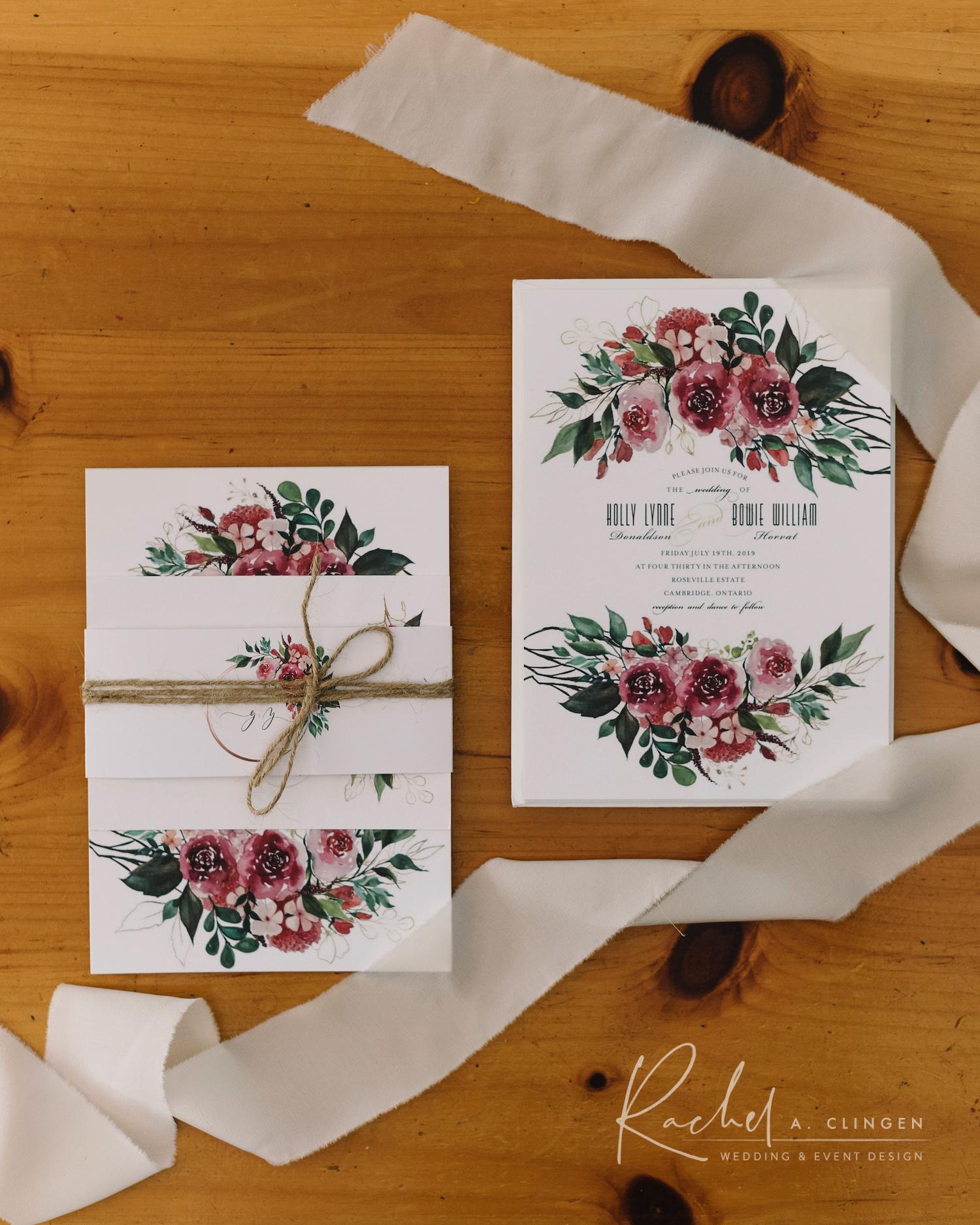 wedding invitatios dusty rose