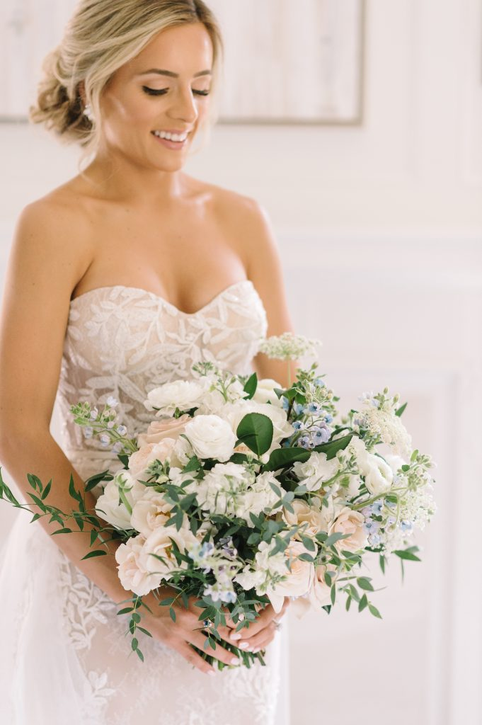 bridal bouquet blue accents