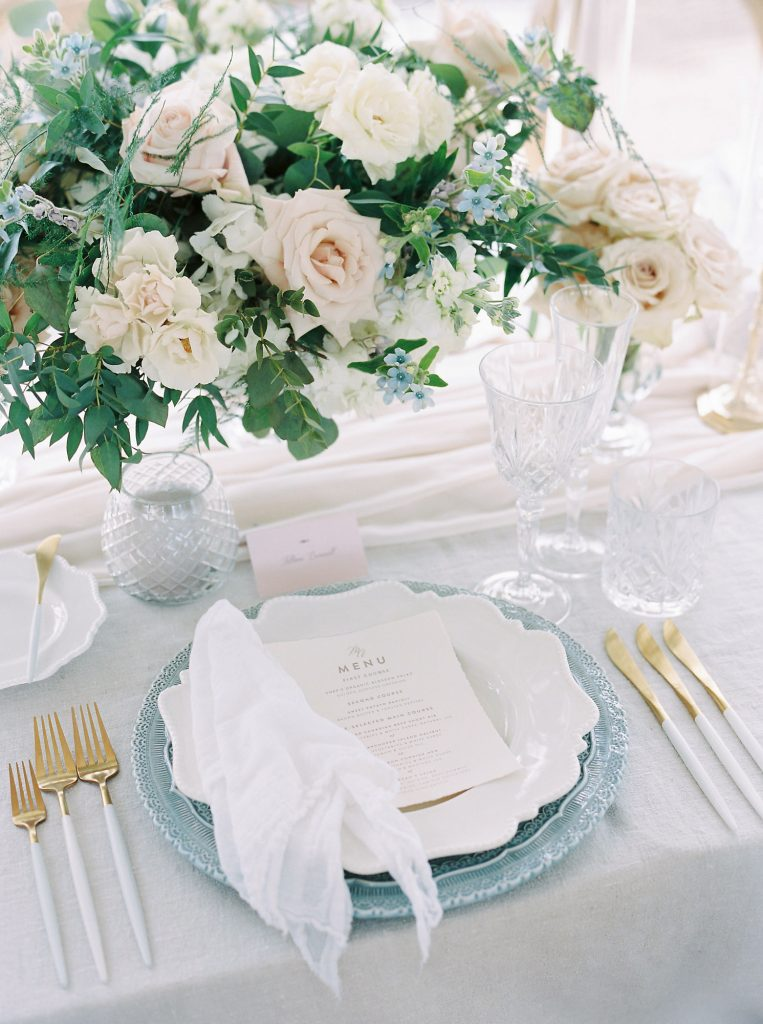 dusty blue wedding place setting