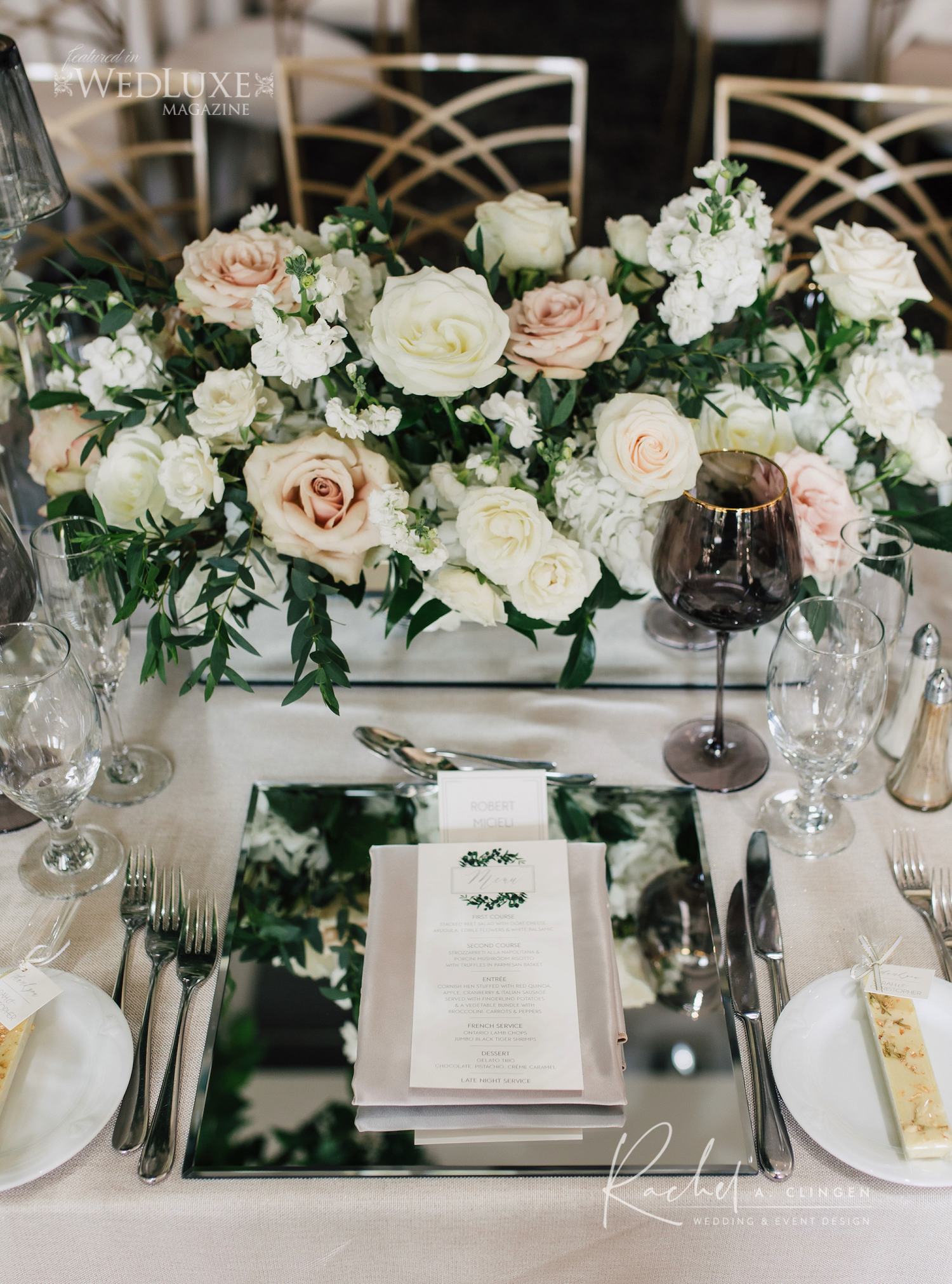 mirrored charger plate wedding setting