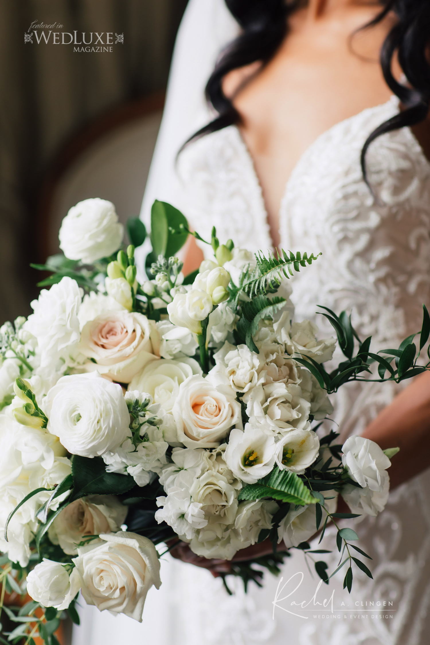wedding bouquet ivory greens