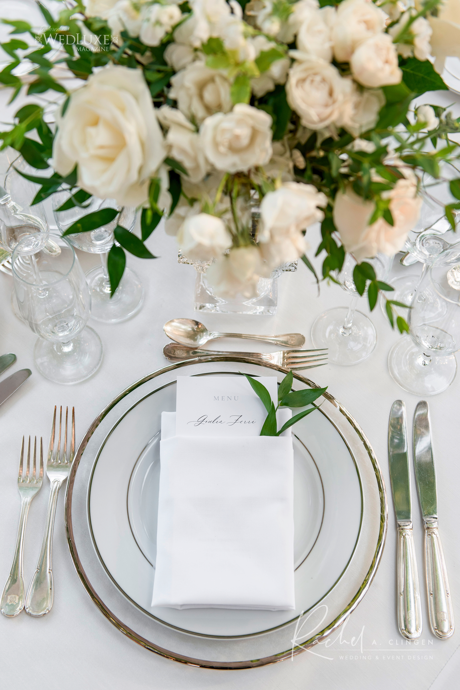 white wedding centrepieces placesetting