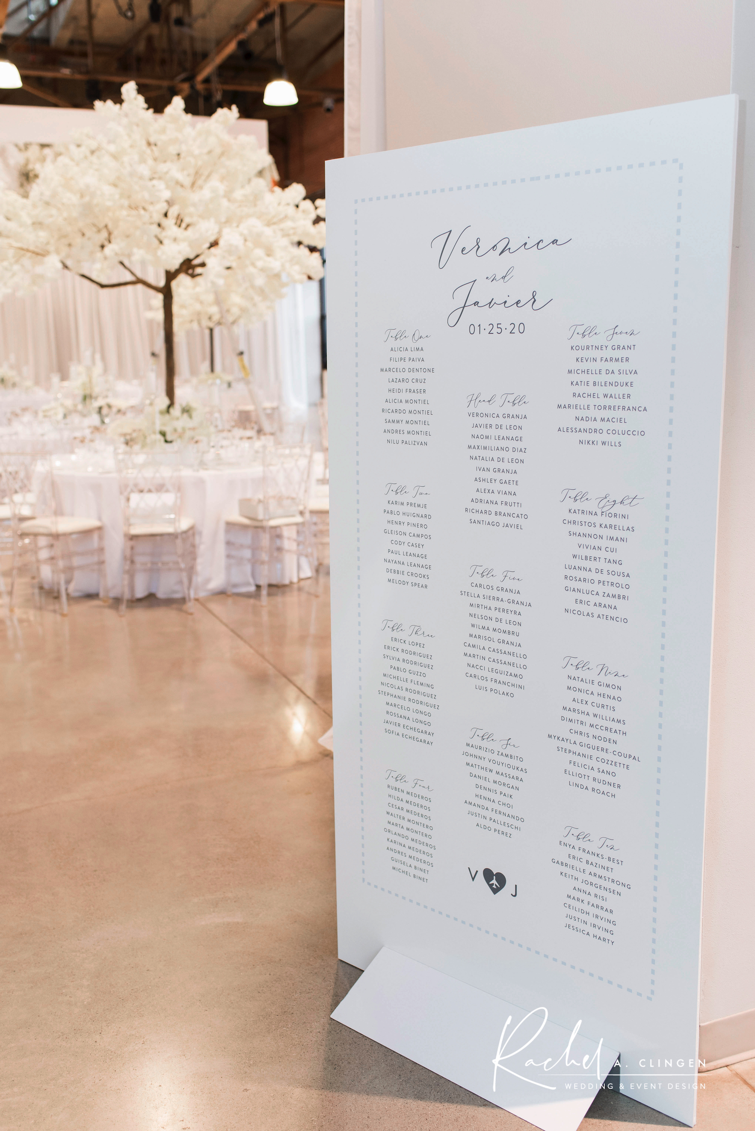winter wedding seating chart