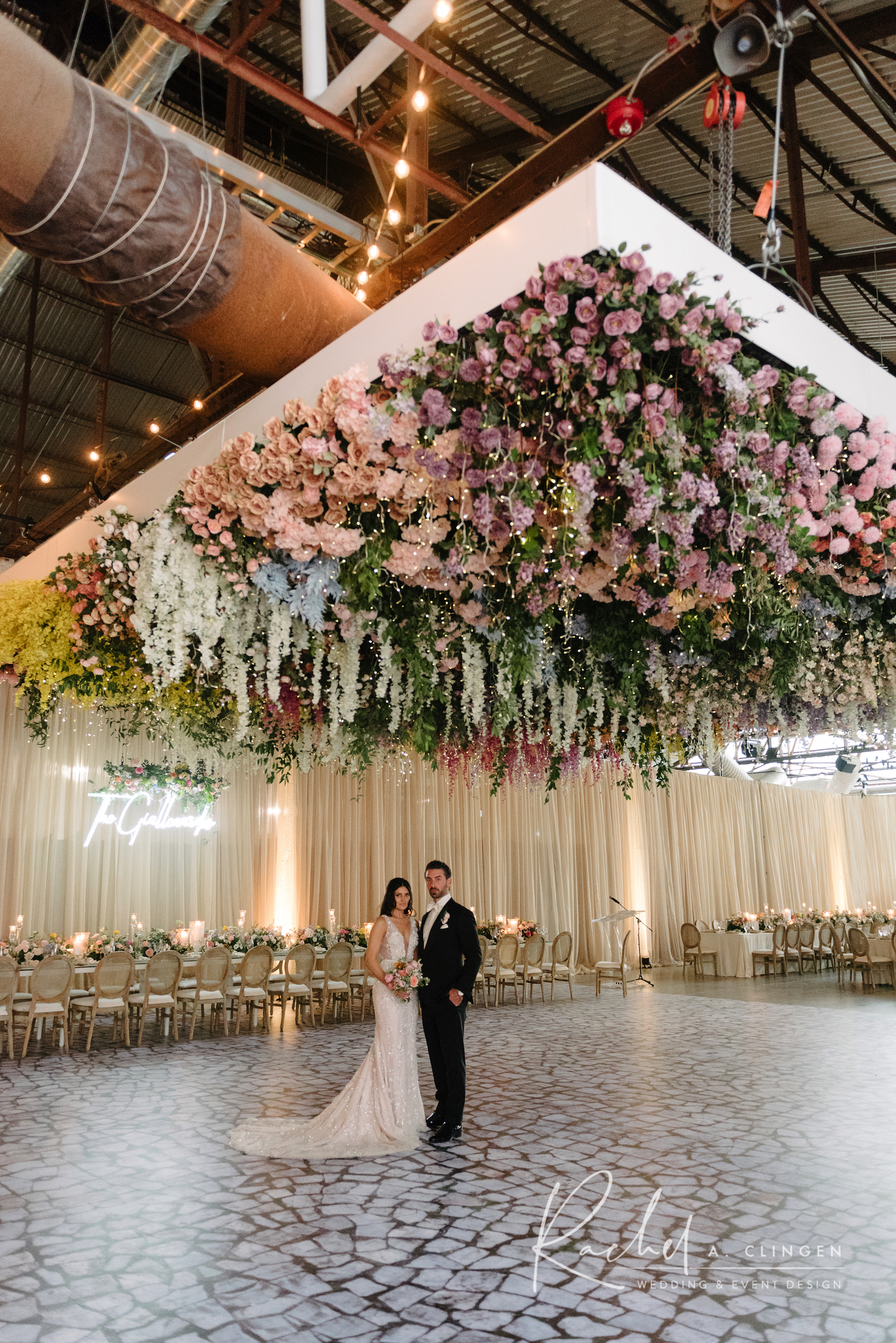 cieling flowers suspension wedding