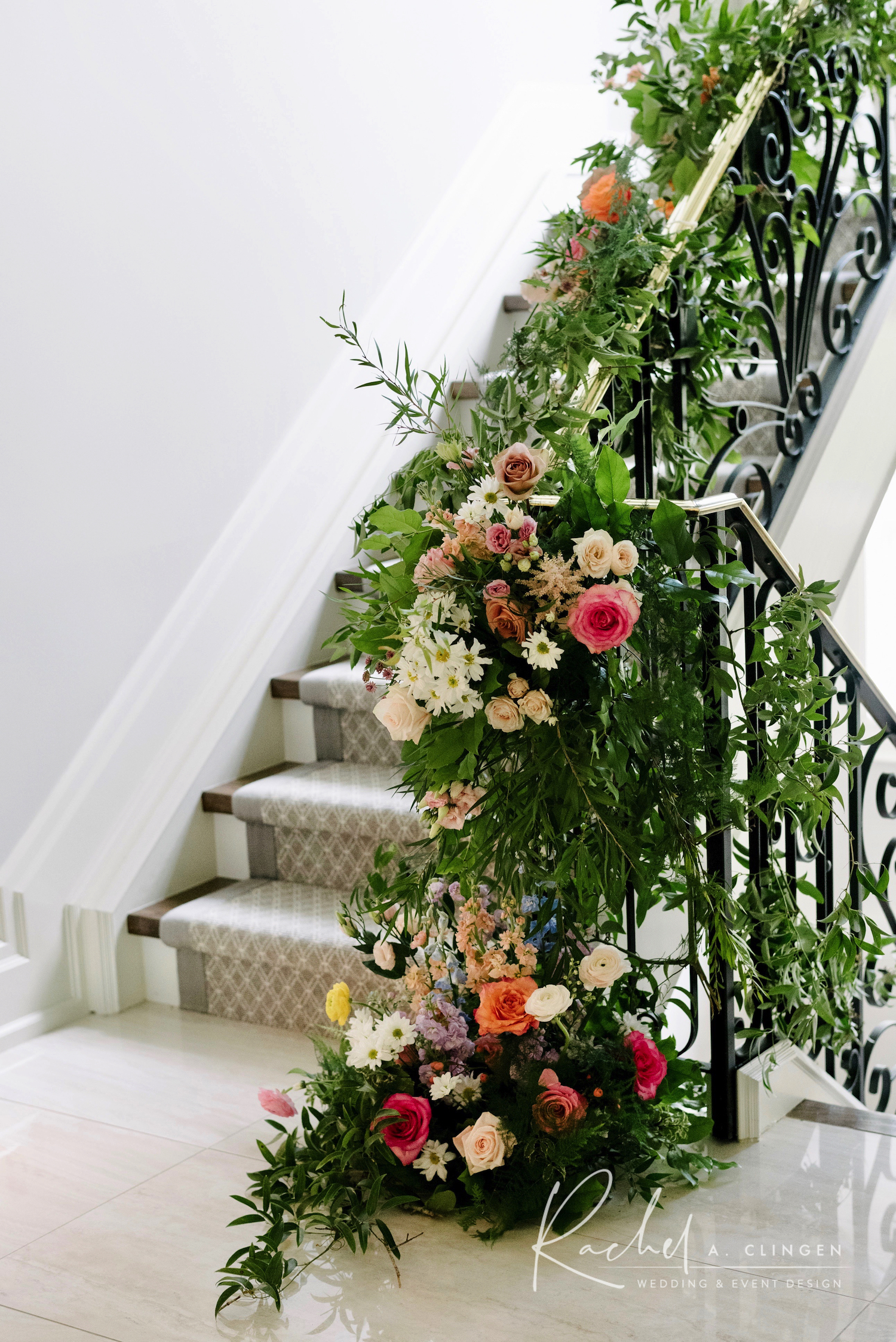 stair case flowers wedding