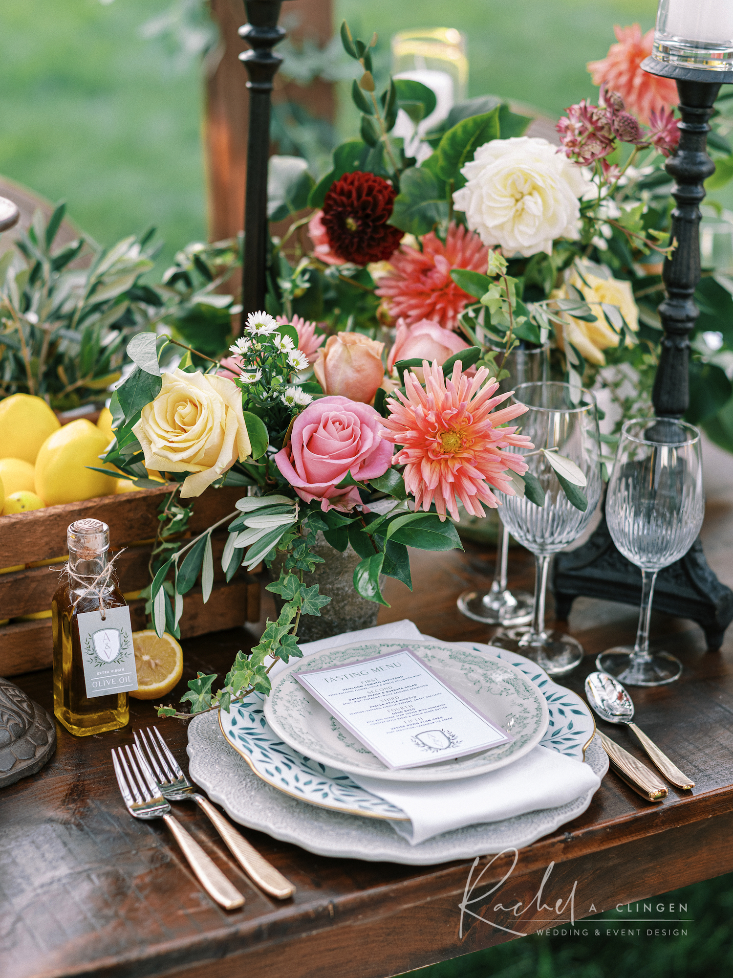 tuscan inspired dinner party flowers
