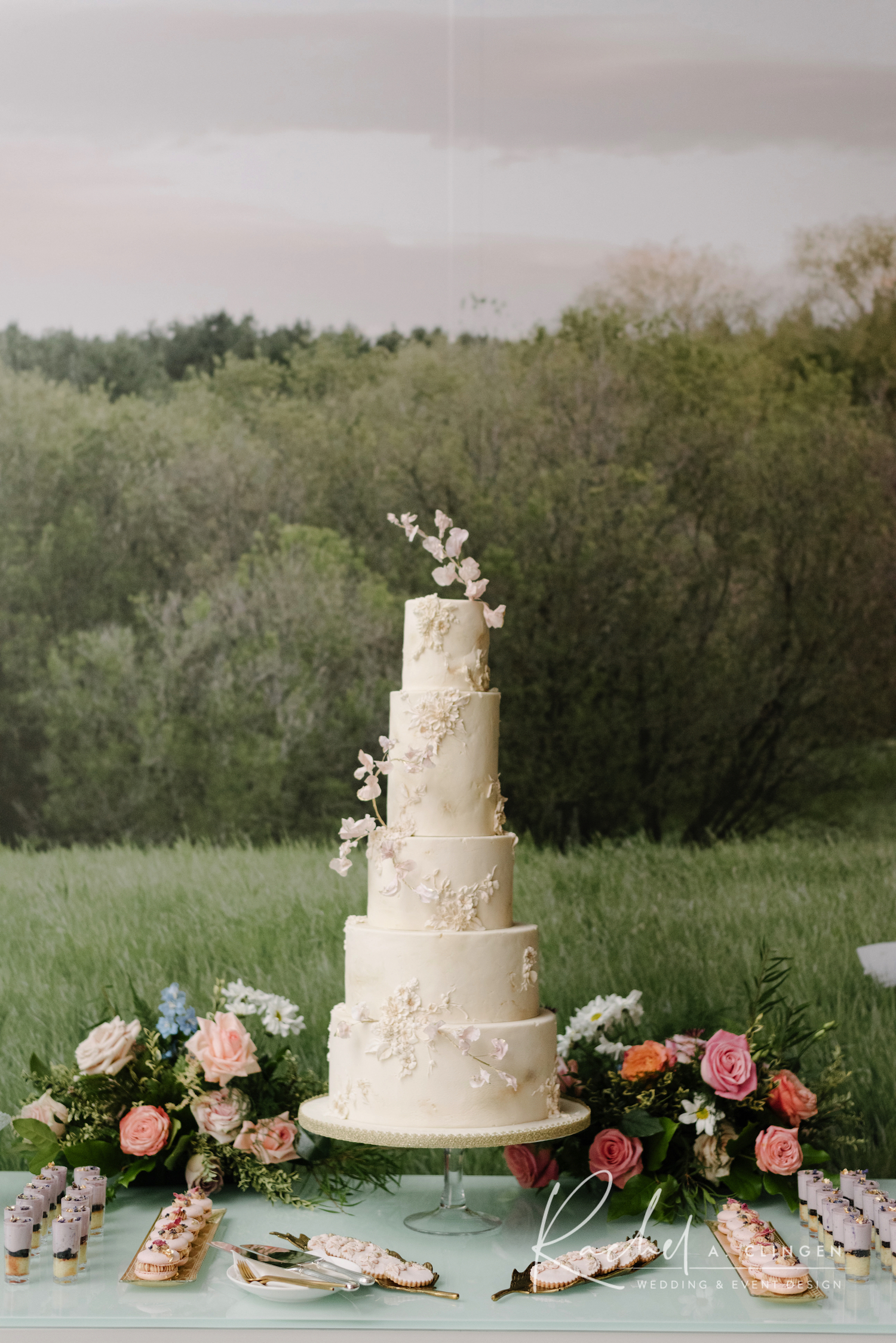 wedding cake wild flowers