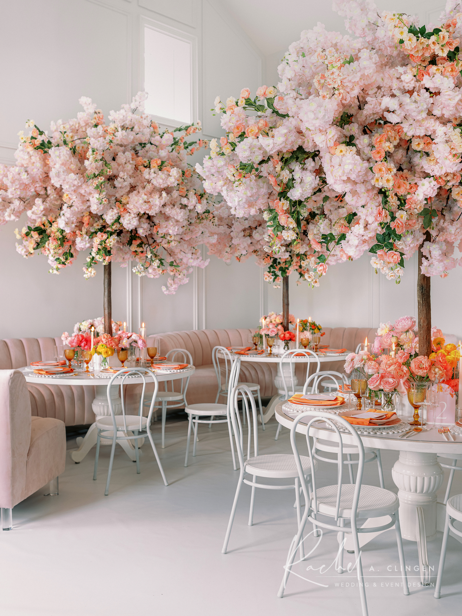 peach blossom trees wedding arlington estate
