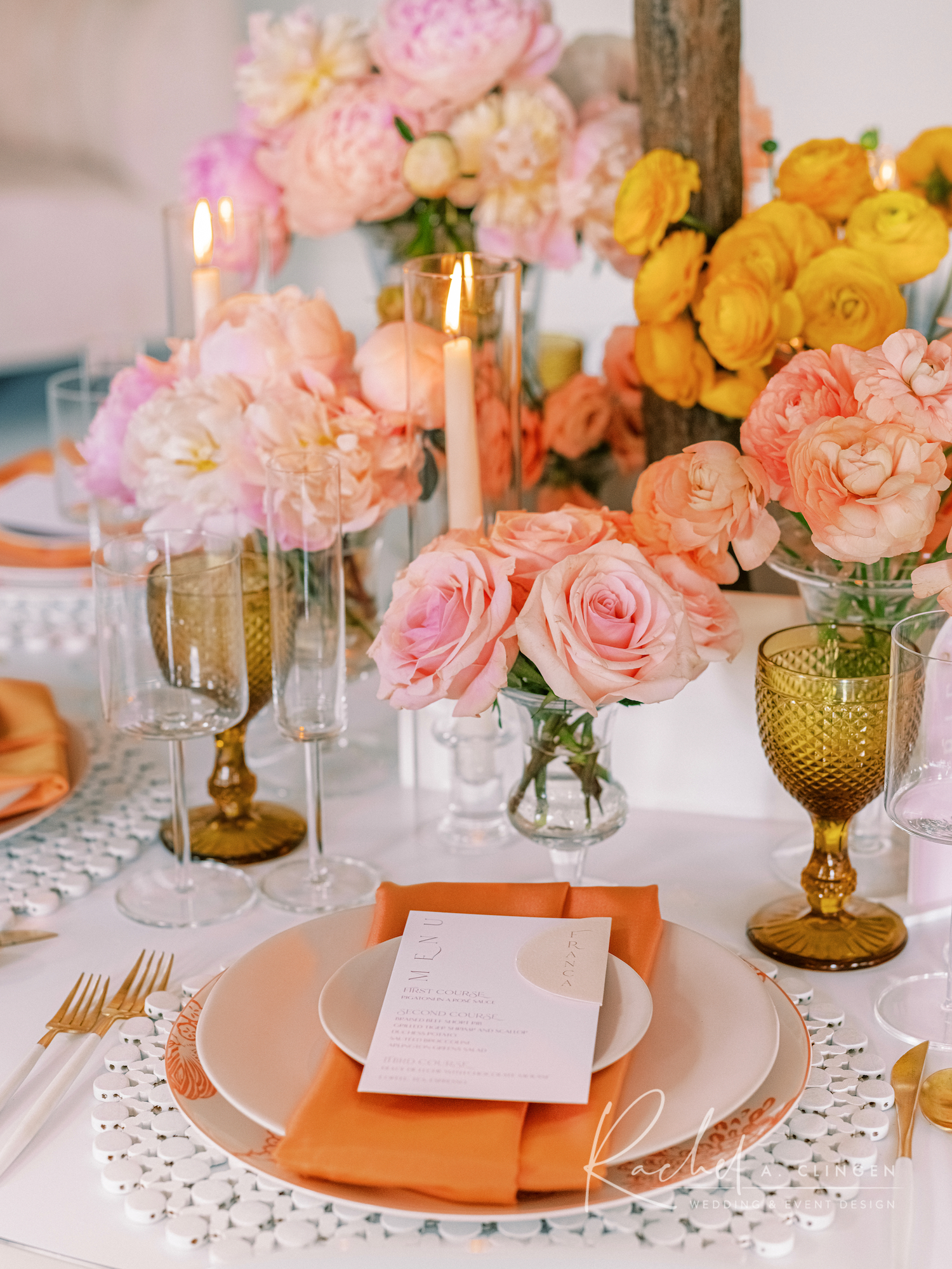 peach mustard flowers placesetting toronto weddings