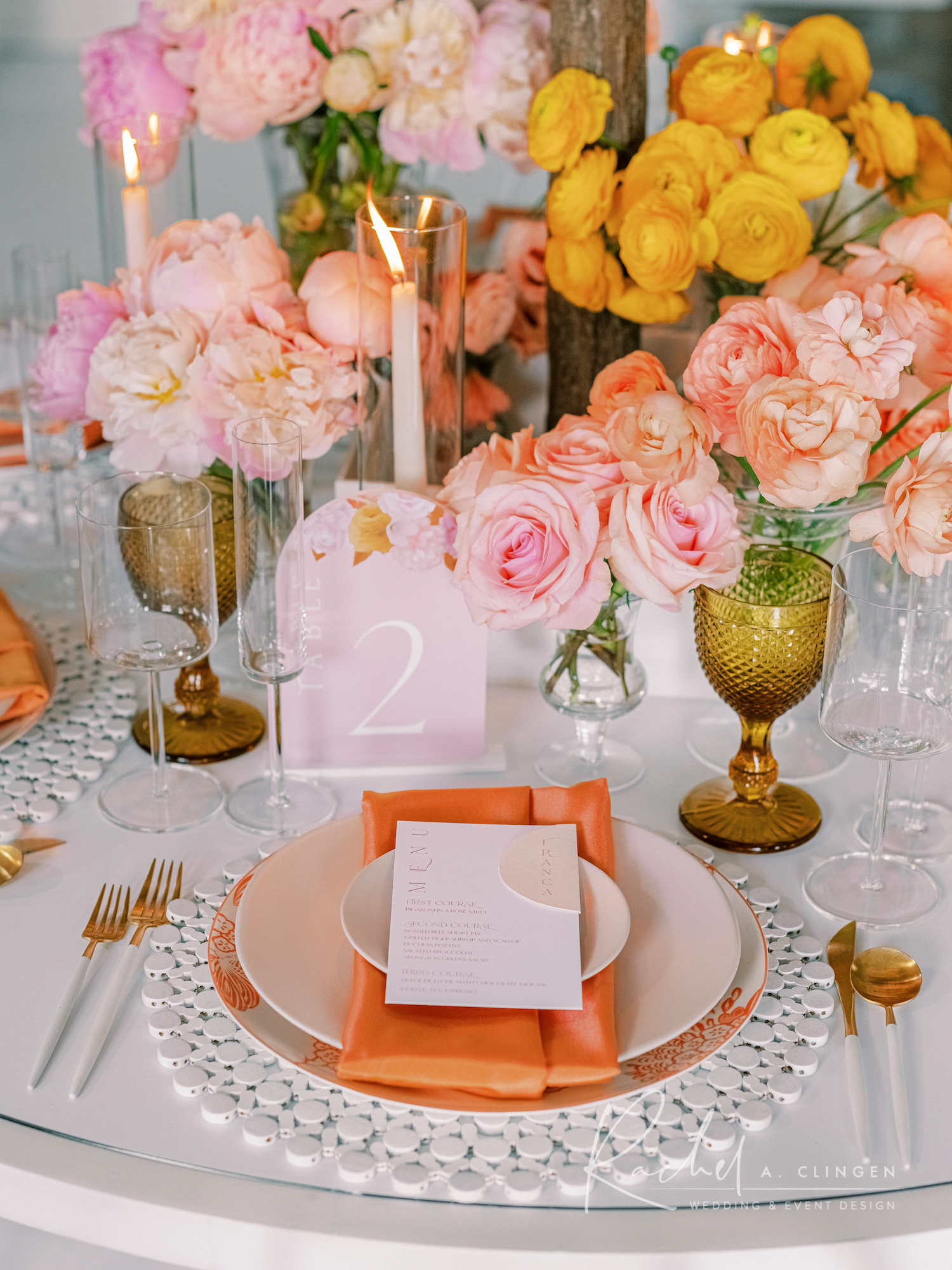 peach mustard pink wedding flowers