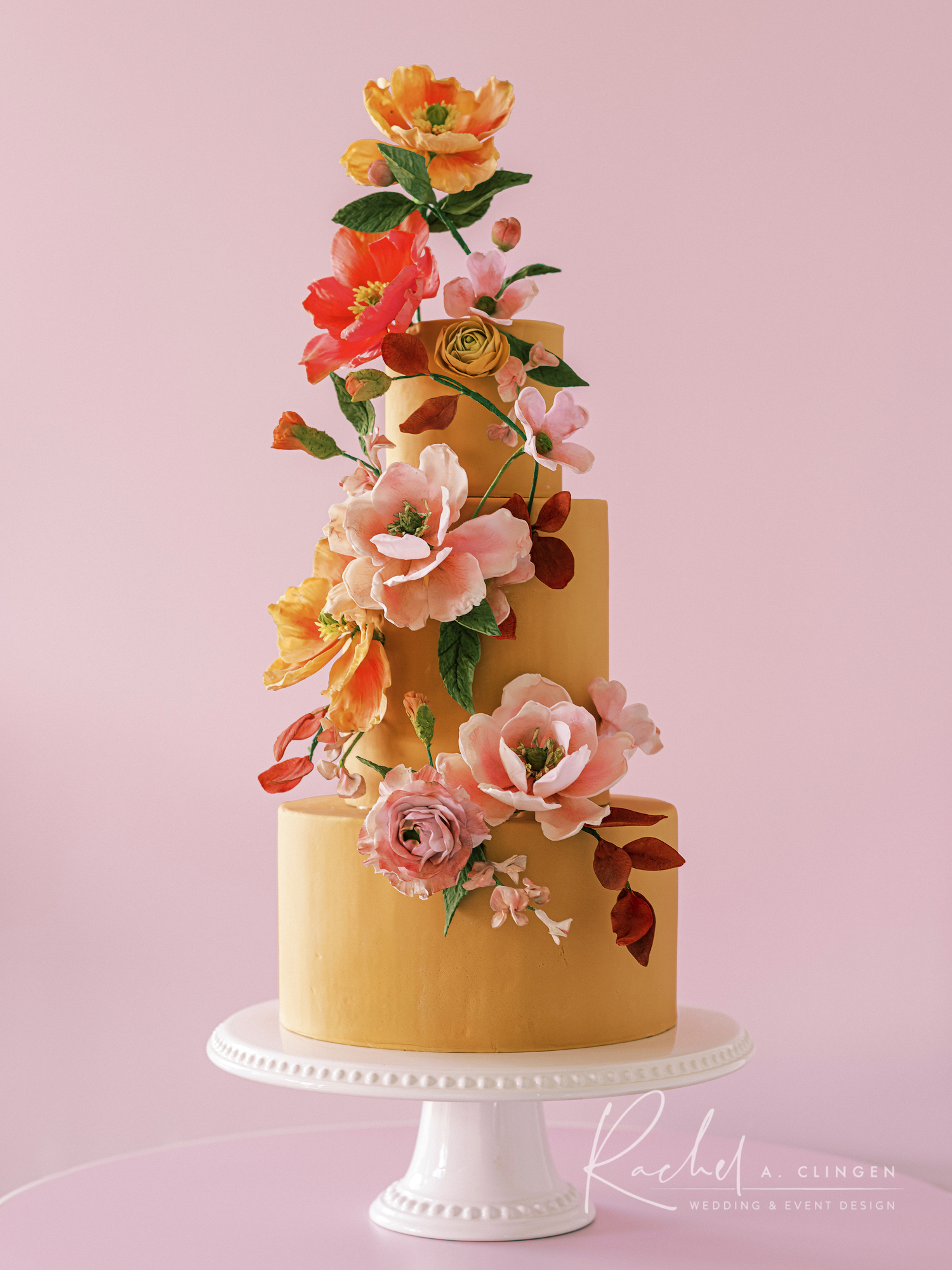 peach mustard wedding cake toronto