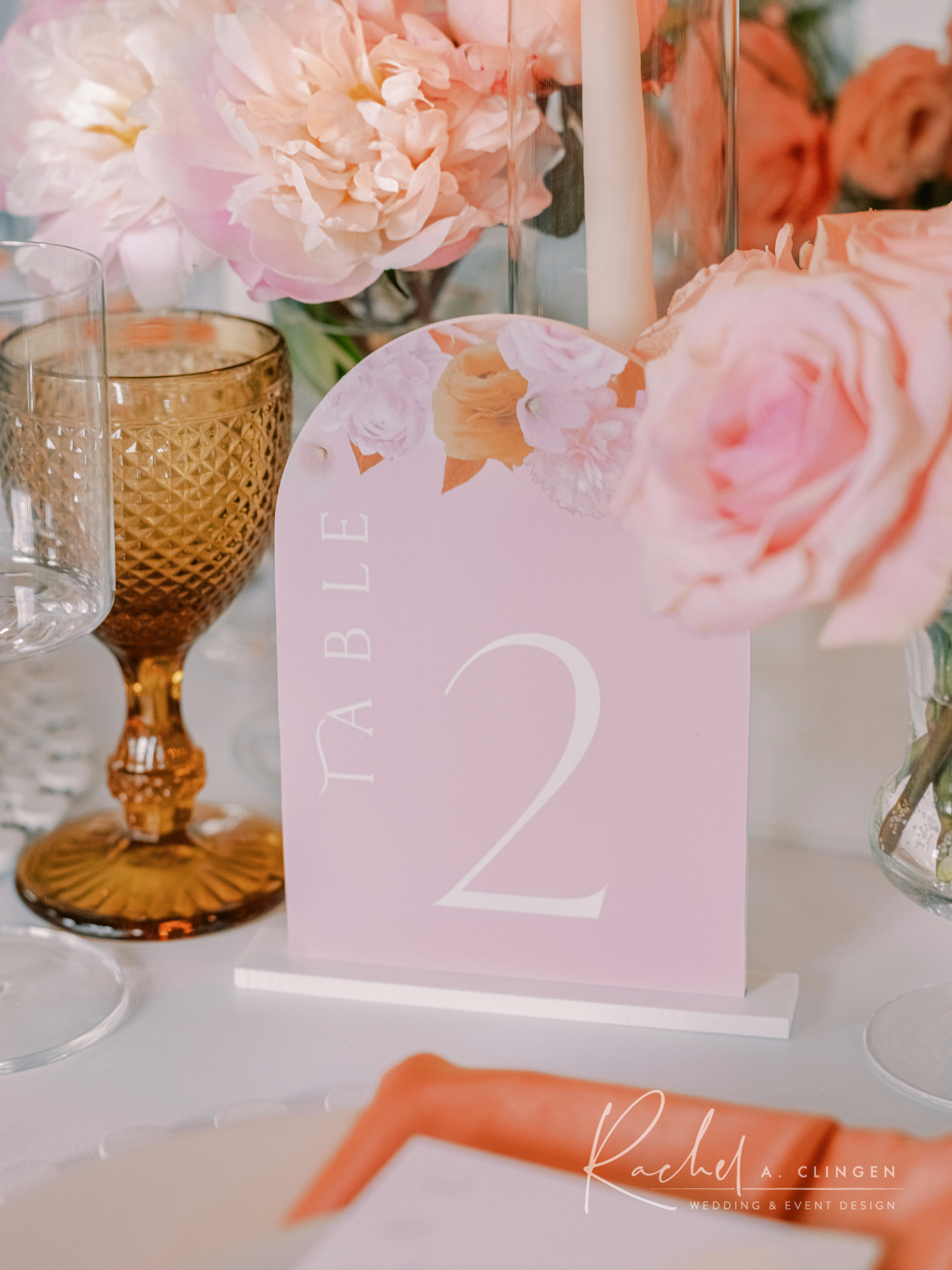 peach mustard wedding decor table number