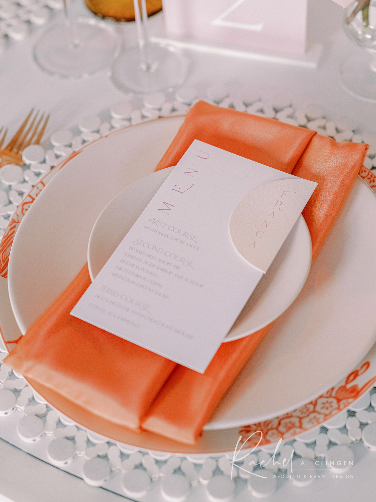 peach napkin toronto wedding rentals