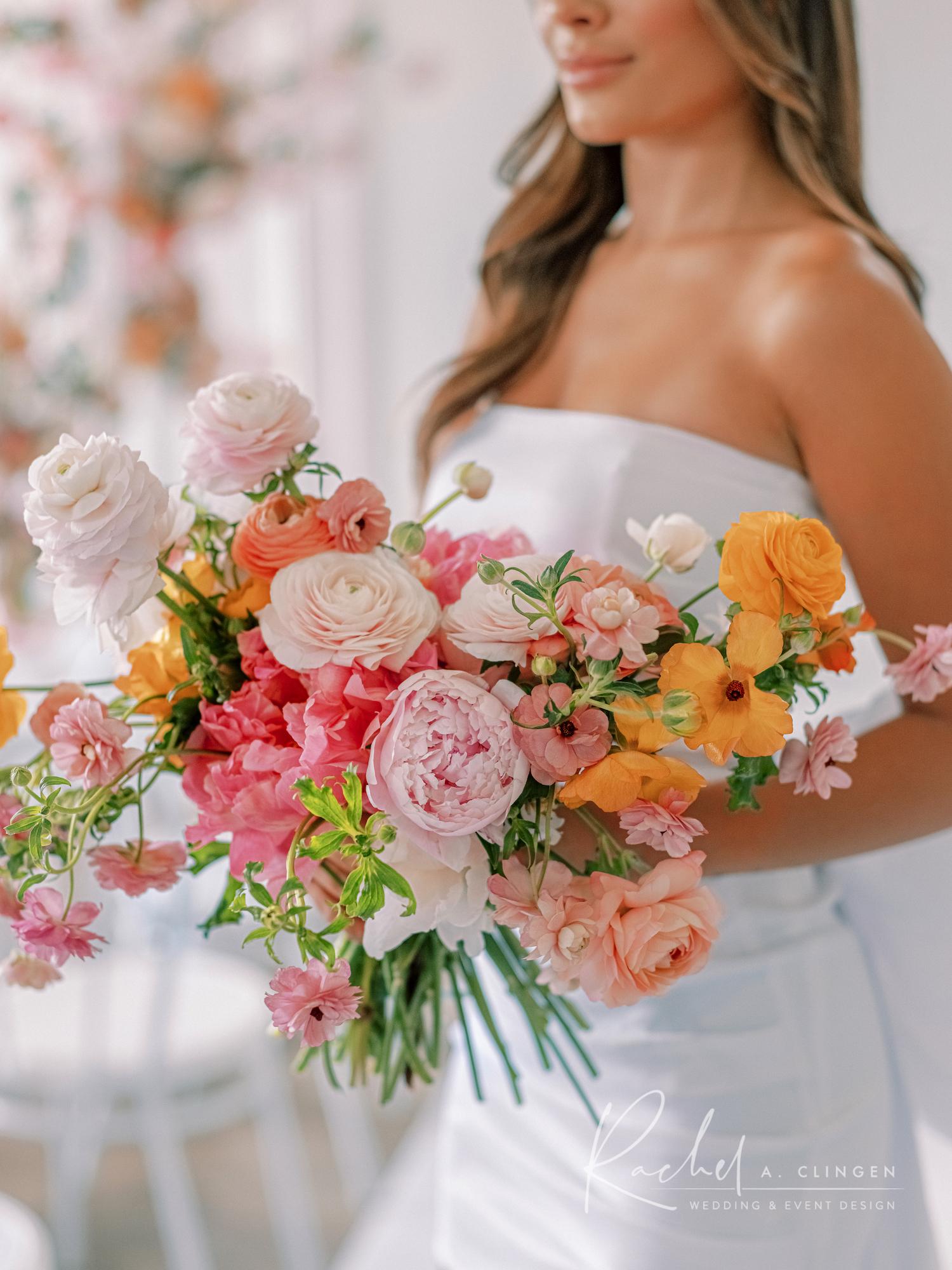 peach pink mustard bouquet rachel a clingen