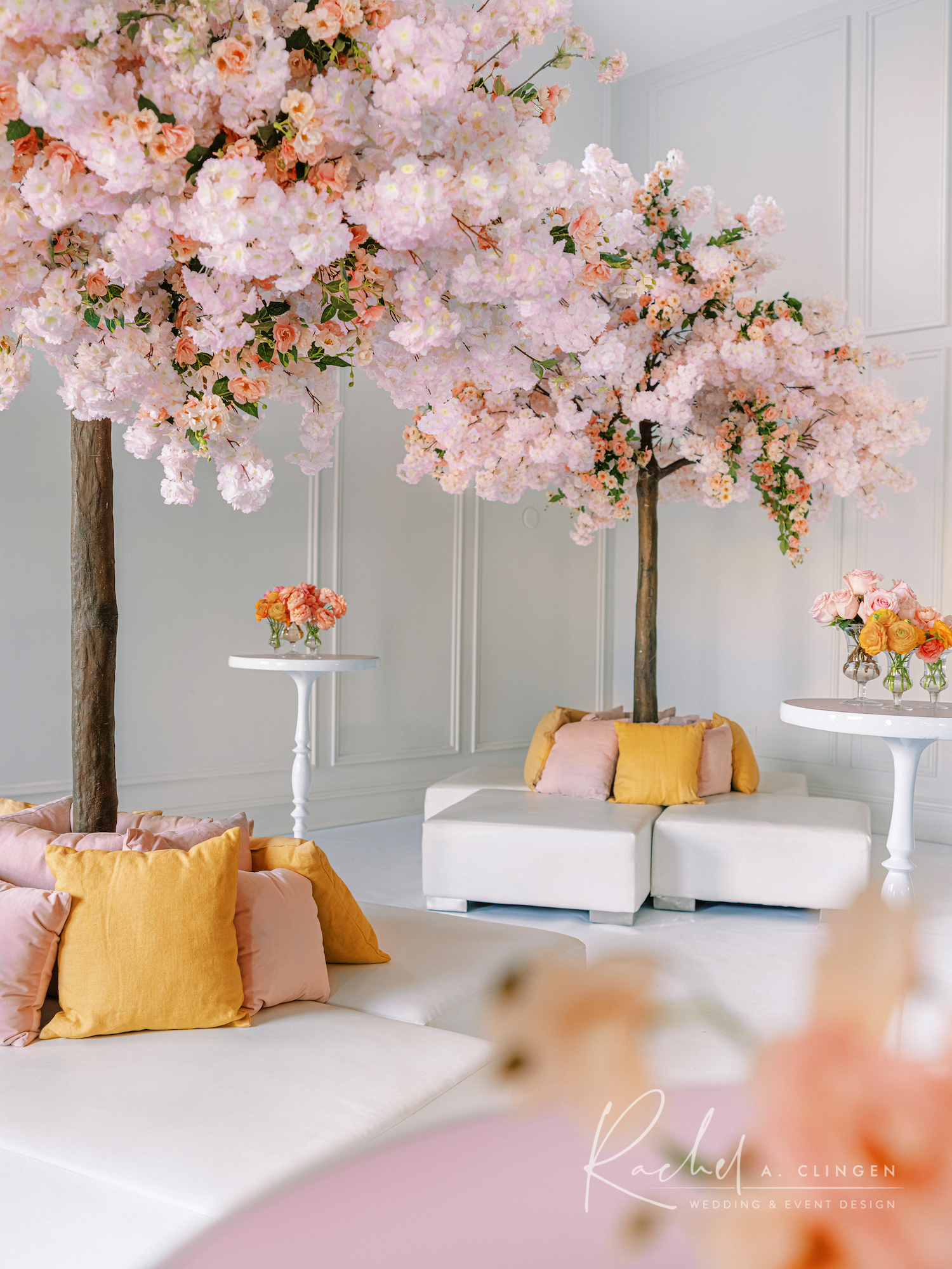 peach terra cotta weddding decor lounge