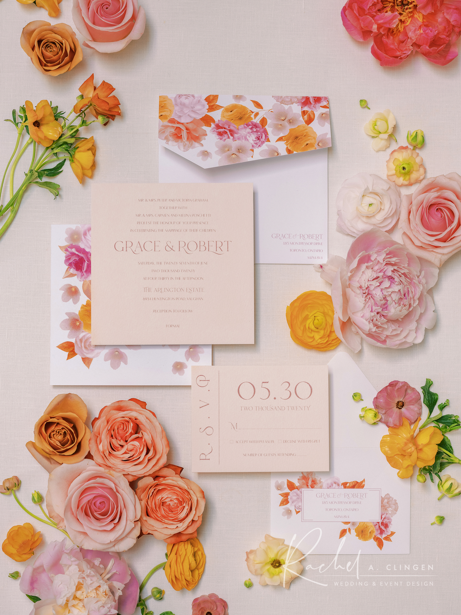 spring flowers mustard peach wedding stationery