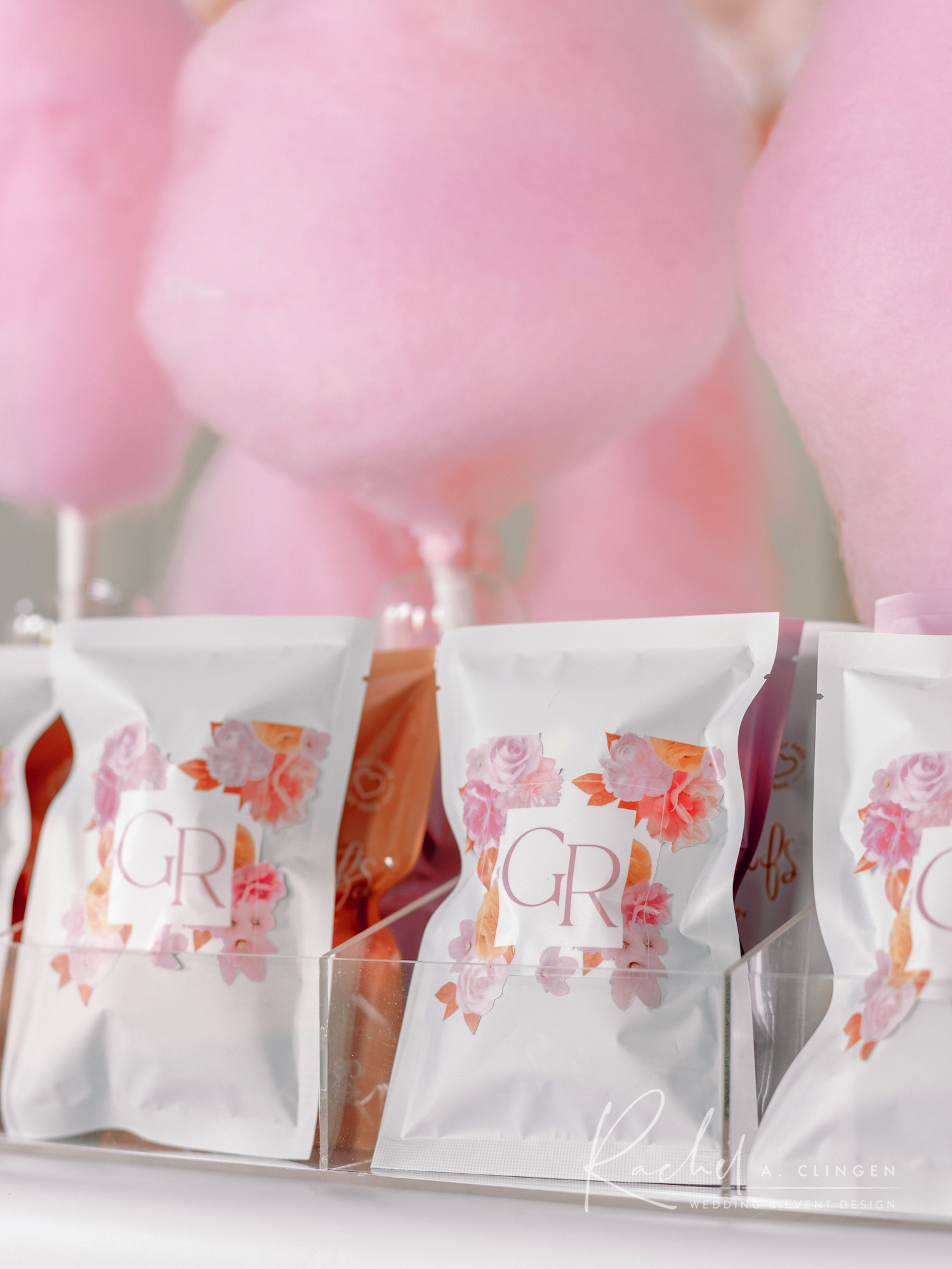 terra cotta pink mustard wedding cotton candy wedding favours