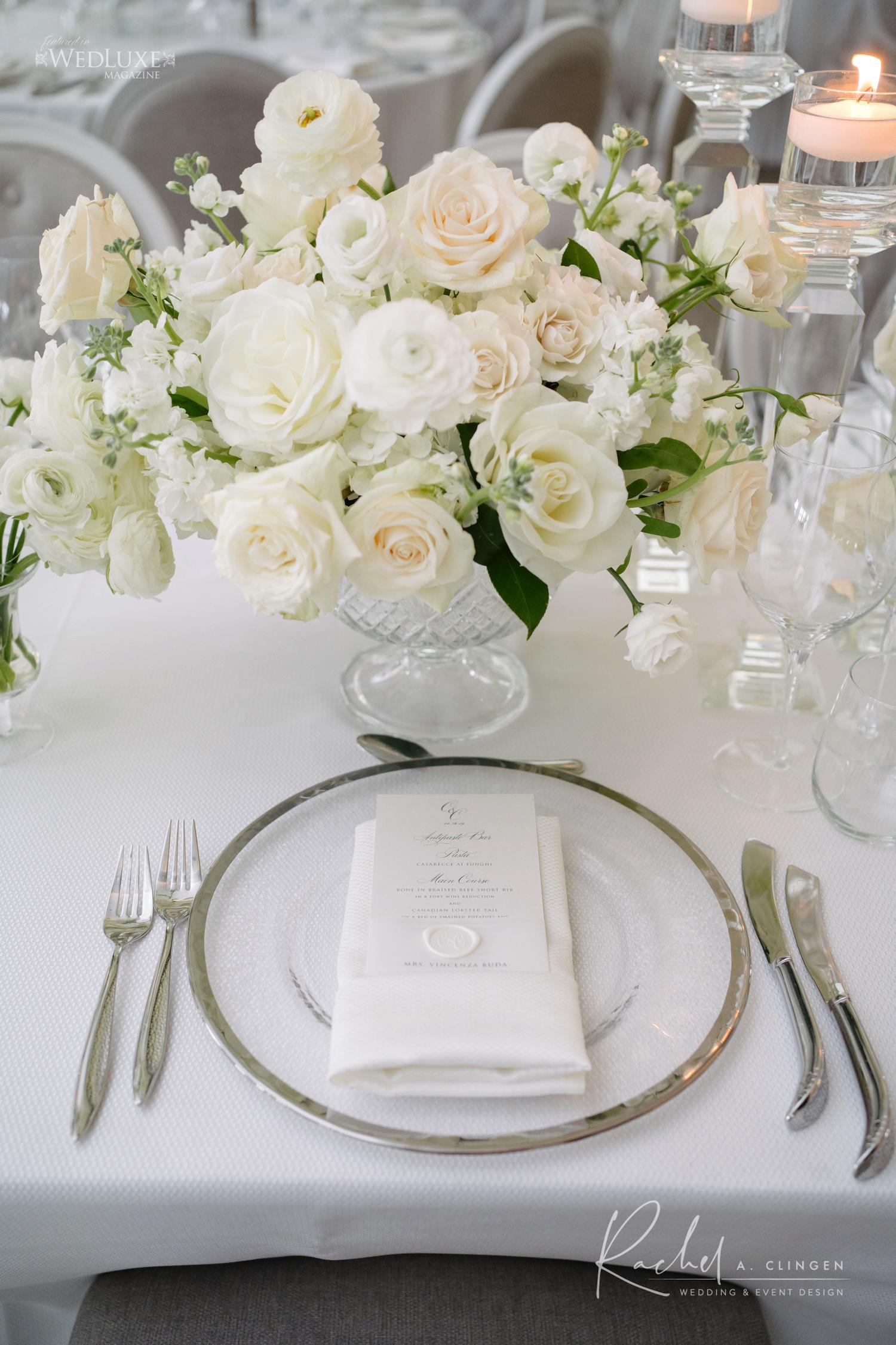 white floral centrepiece arlington estate
