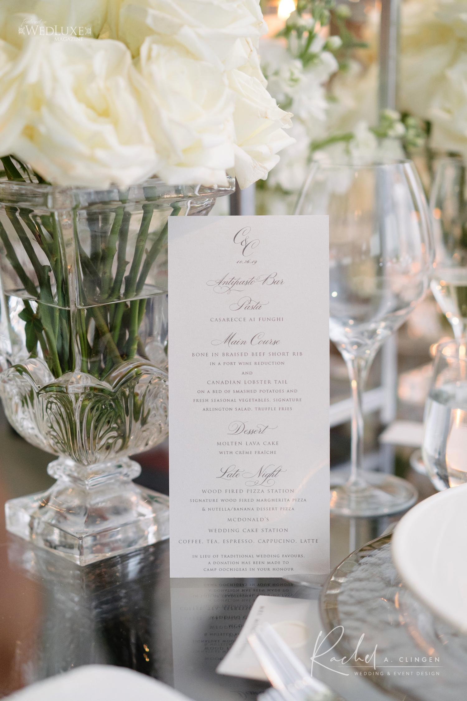 white wedding stationery design