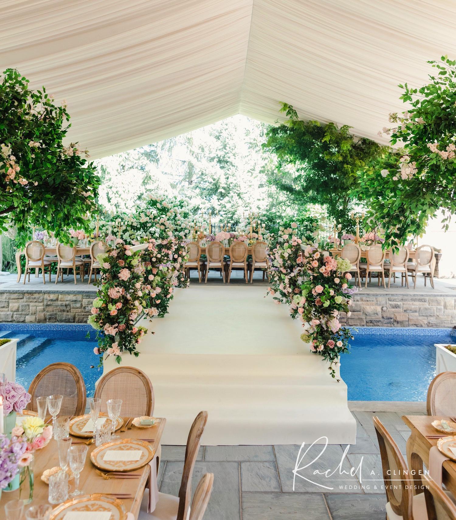 bridal shower flower bridge over pool