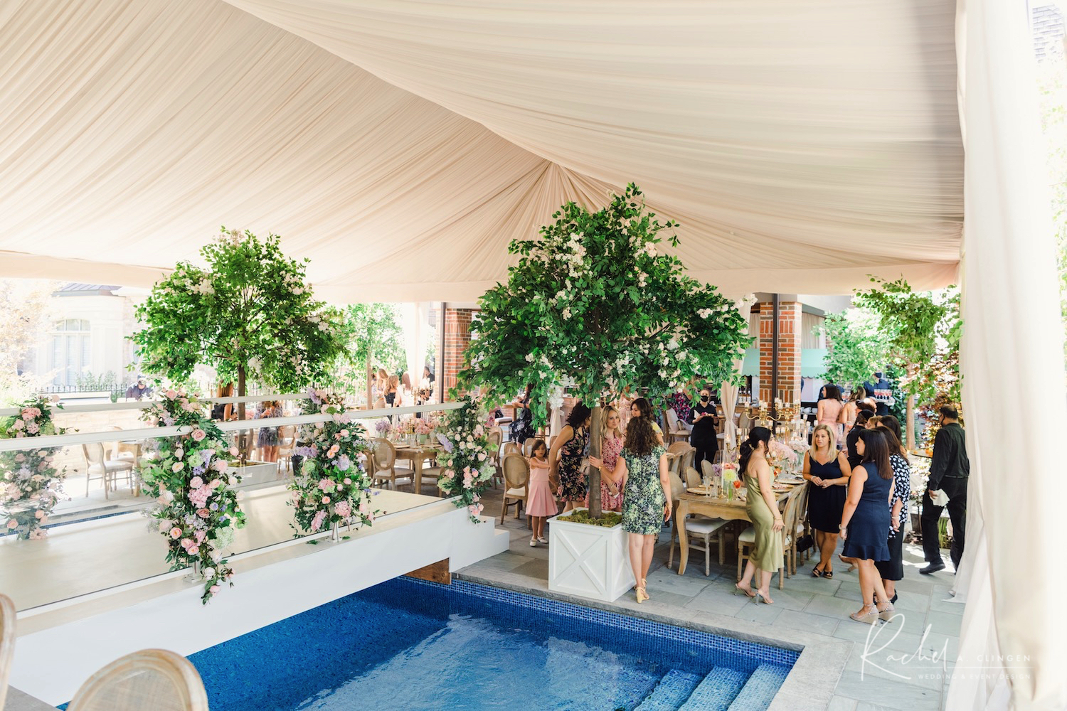 luxury bridal shower tent draping
