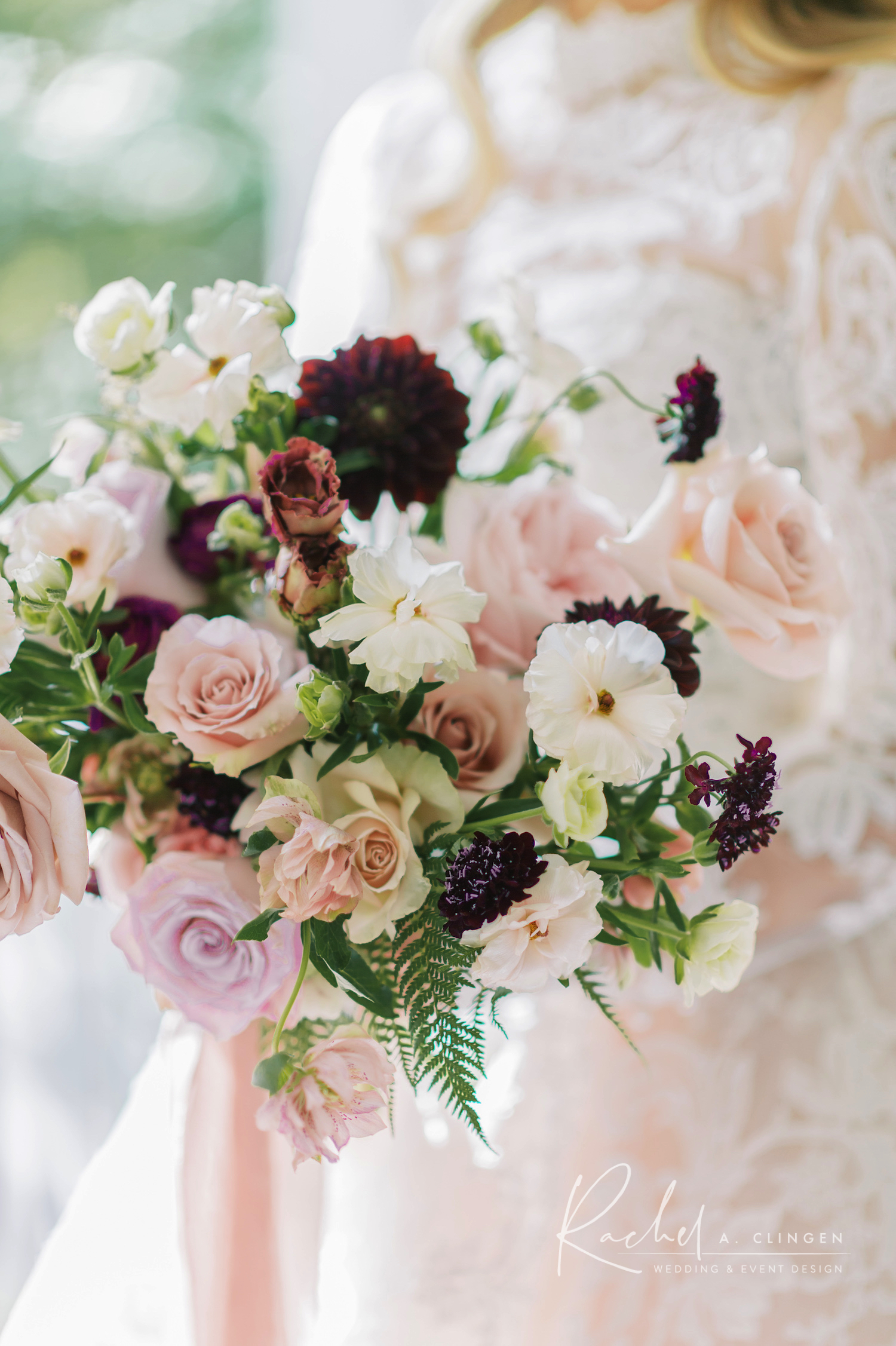 mauve blush bridal bouquet