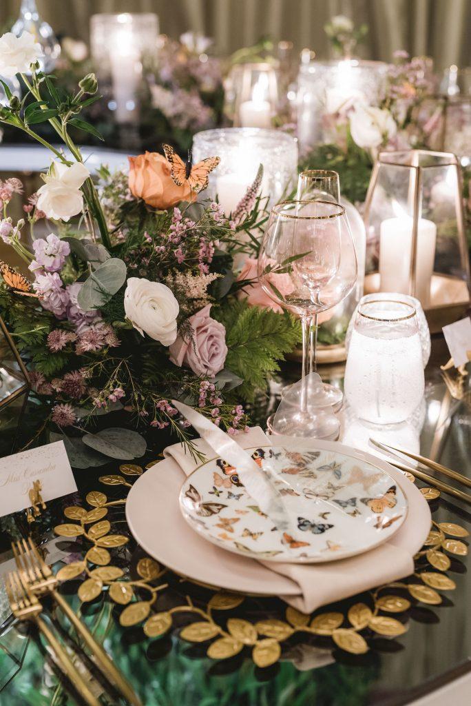 luxury wedding decor flowers butterflies